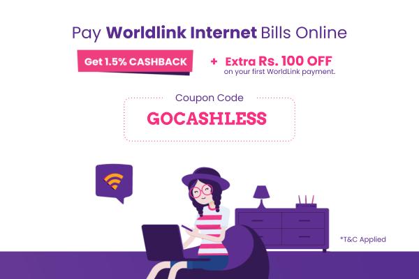 Get 1.5% Cashback + Rs 100 Off on Worldlink payment | Khalti