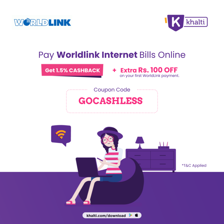 Read more about the article Get 1.5% Cashback + Rs 100 Off on Worldlink payment | Khalti